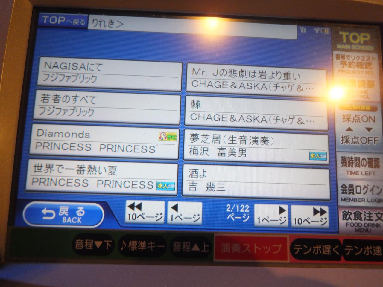 1人カラオケ・曲目リストvol4・梅沢富美男・PRINCESSPRINCESS・フジファブリック・画像写真