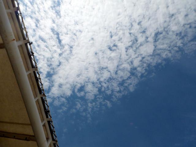 名古屋競馬場20140918・スタンドと青空・画像写真