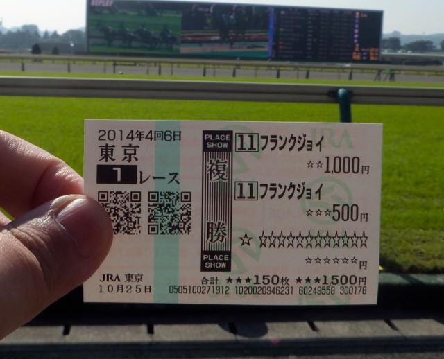 東京競馬場・20141025・1レースフランクジョイハズレ馬券・画像写真