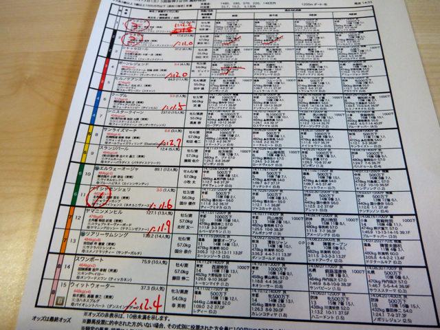 阪神競馬場2014年12月13日・9レース高砂特別馬柱一部・画像写真