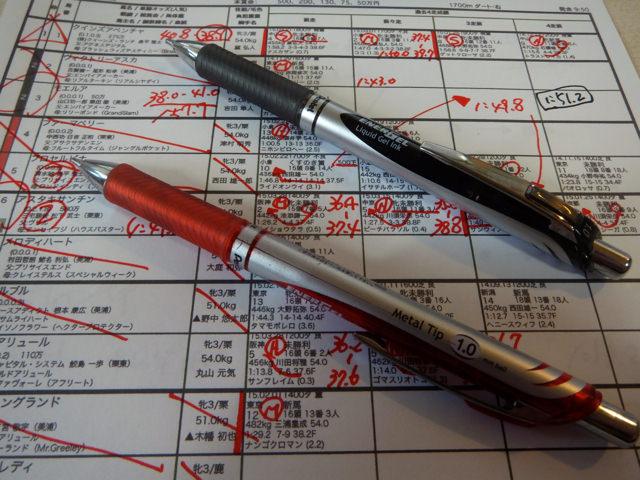 赤ペン、黒ボールペン。競馬予想におすすめは、ぺんてるノック式エナージェル1.0。書きやすい。にじまない、使いやすい。マークシートにも
