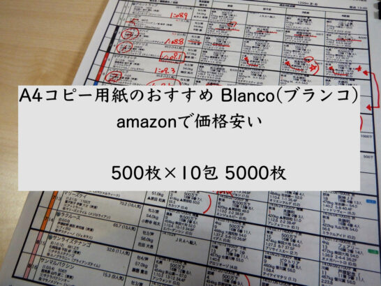 A4コピー用紙のおすすめ。Blanco(ブランコ)。amazonで価格安い。500枚×10包5000枚