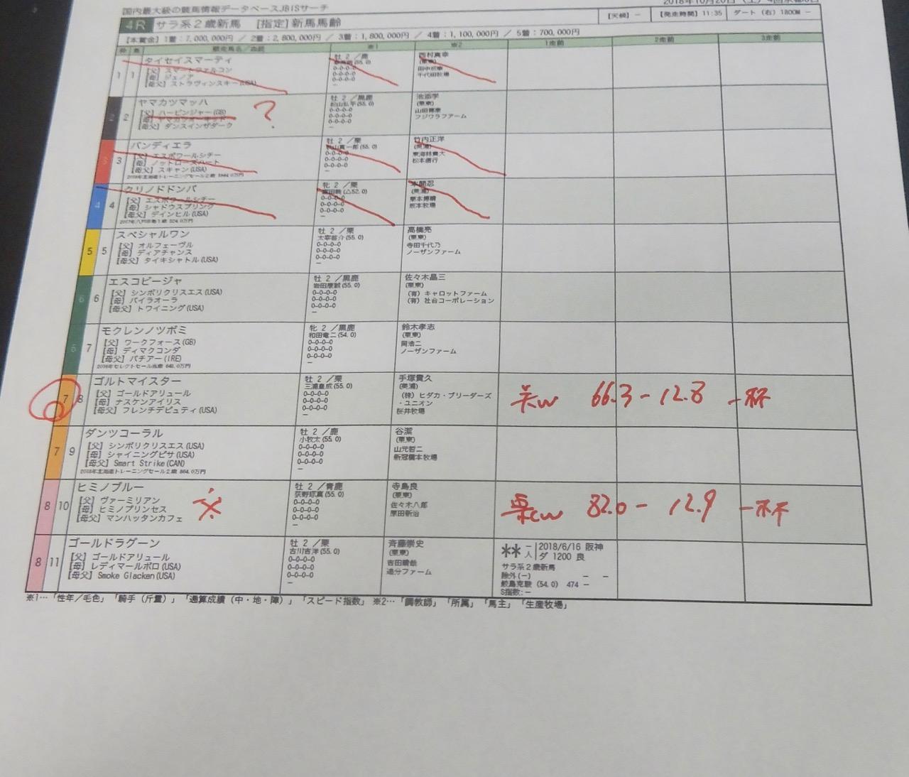 京都4レース、2歳新馬戦(ダート1800m)競馬予想。馬券本命、ゴールドアリュール産駒ゴルトマイスター(三浦皇成騎手、手塚貴久厩舎)2018.10.20