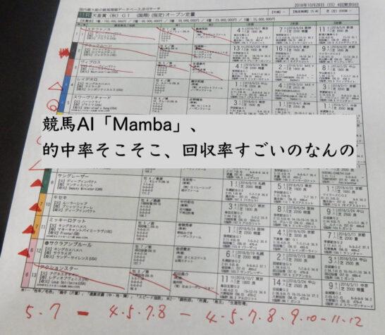 競馬AI「Mamba」、的中率そこそこ、回収率すごいのなんの