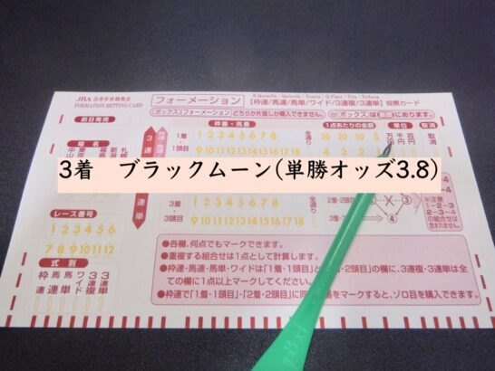 3着 ブラックムーン(単勝オッズ3.8)