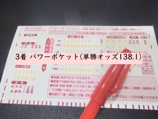 3着 パワーポケット(単勝オッズ138.1)